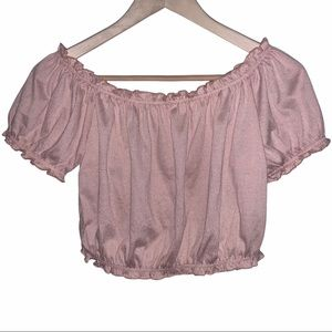 Dusty Pink Off The Shoulder Ruffle Crop Top